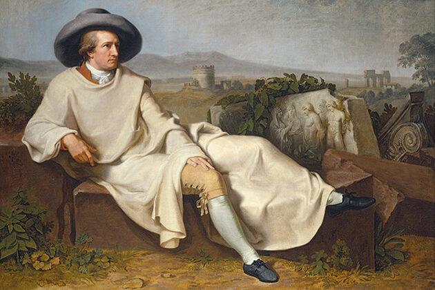 Johann Wolfgang von Goethe in de Campagne (Johann Heinrich Wilhelm Tischbein), 1787