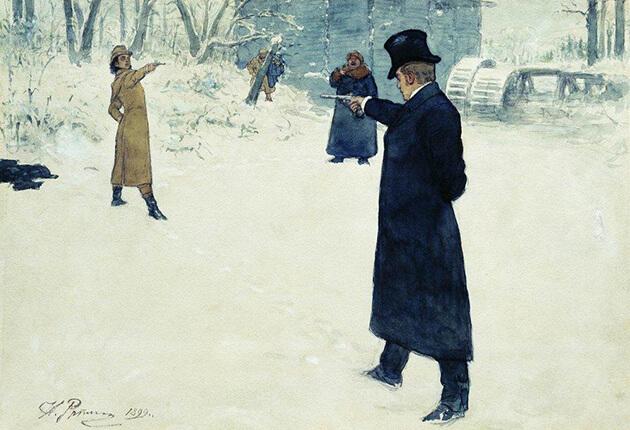 Duel tussen Onegin en Lenski (Ilja Repin, 1889)