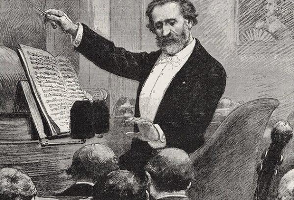 Giuseppe Verdi dirigeert in Parijs, ca 1880