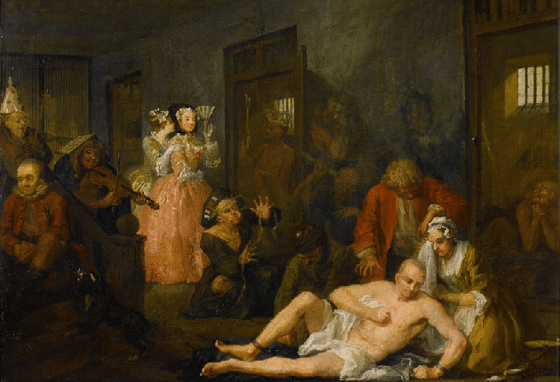 The Madhouse, uit de serie The Rake's Progress (William Hogarth)