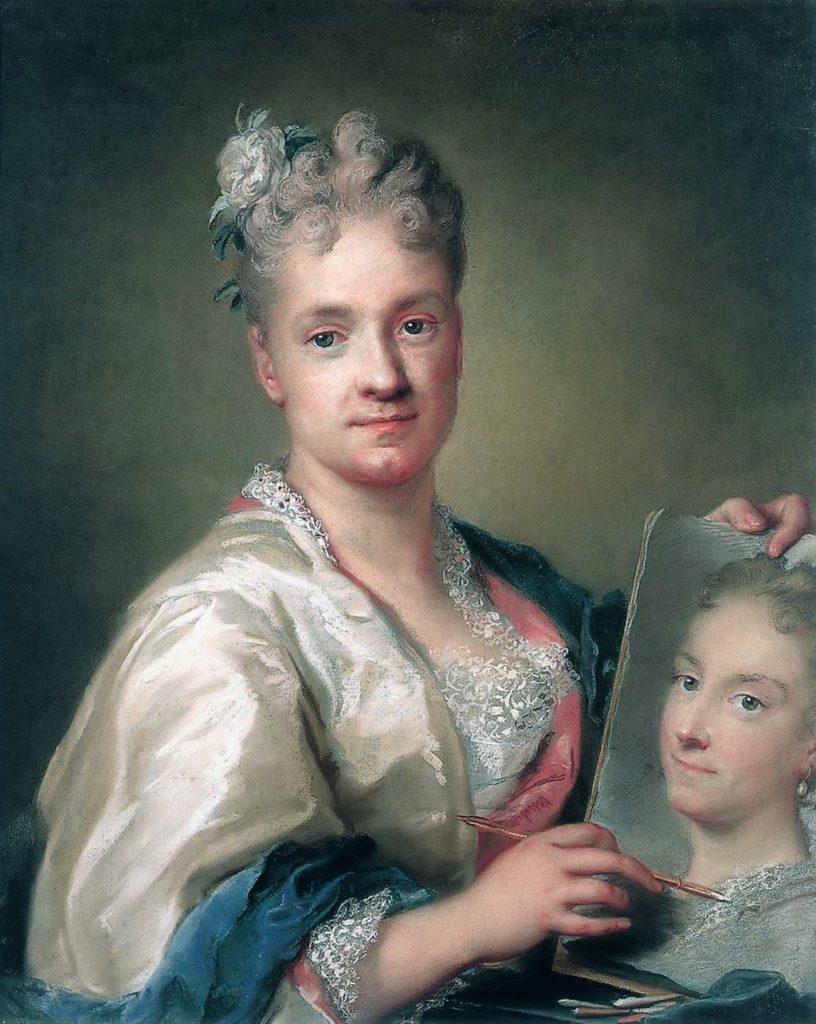 Zelfportret van Rosalba Carriera met in haar hand een portret van haar zuster (pastel, 1715)