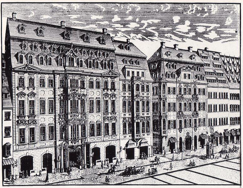 Het koffiehuis van Gottfried Zimmermann aan de Katharinenstraße 14 in leipzig (ets van Johann George Schreiber uit 1720)