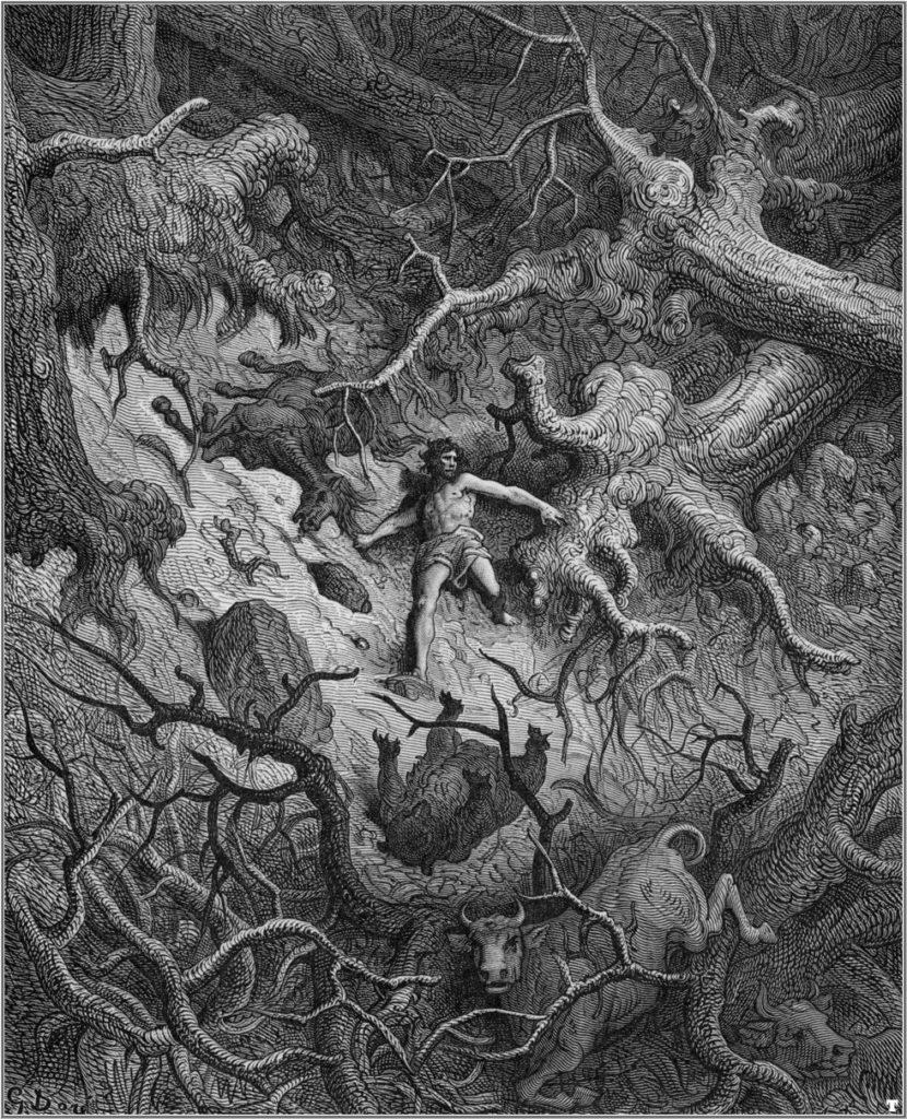 Orlando ontwortelt in zijn razernij eikenbomen (gravure van Gustave Doré)