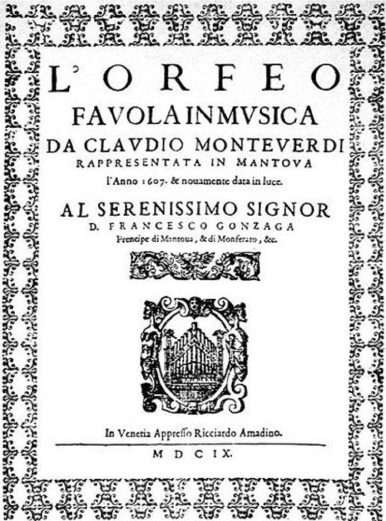 Titelpagina van de eerste uitgave uit 1609 van Monteverdi's L'Orfeo