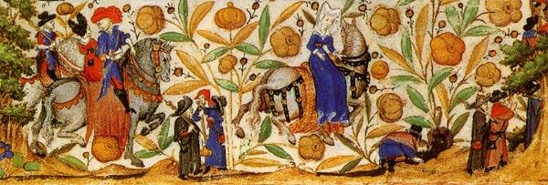 Miniatuur van pelgrimsstoet uit getijden van Margareta van Orléans - 15e eeuw