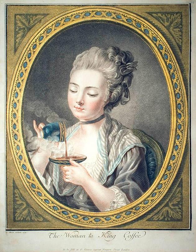 Vrouw met kopje koffie (Louis-Marin Bonnet, 1774)