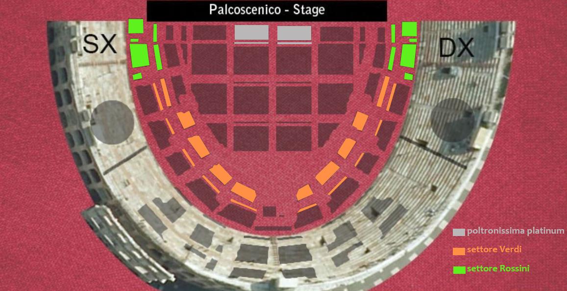 Drie categorieën zitplaatsen in de Arena van Verona