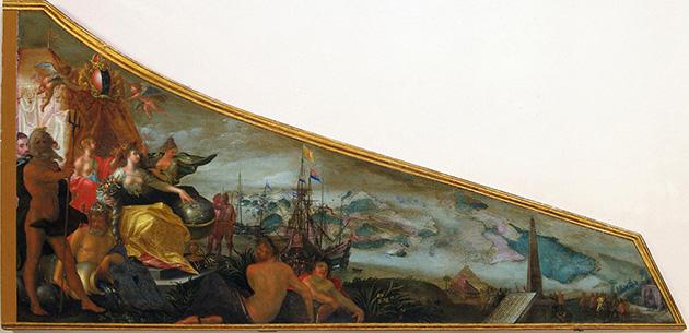 Allegorische voorstelling van Amsterdam als centrum van de wereldhandel (Pieter Isaacsz., 1606)
