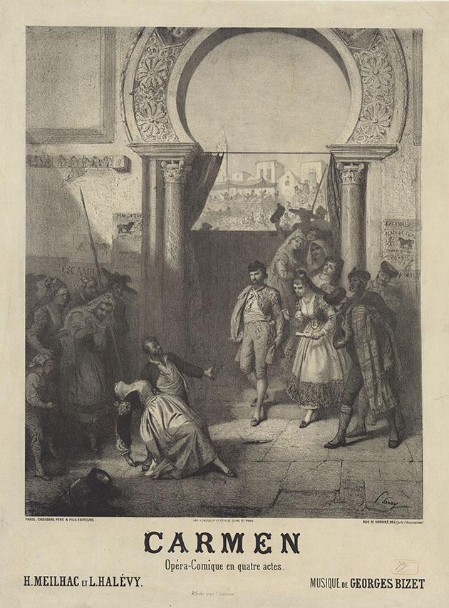 Litho voor de poster van de première van Carmen (Prudent-Louis Leray, 1875)