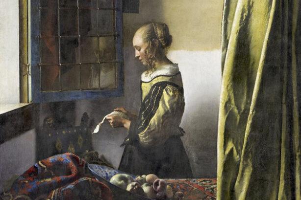 Meisje leest brief bij open raam (Johannes Vermeer, detail)